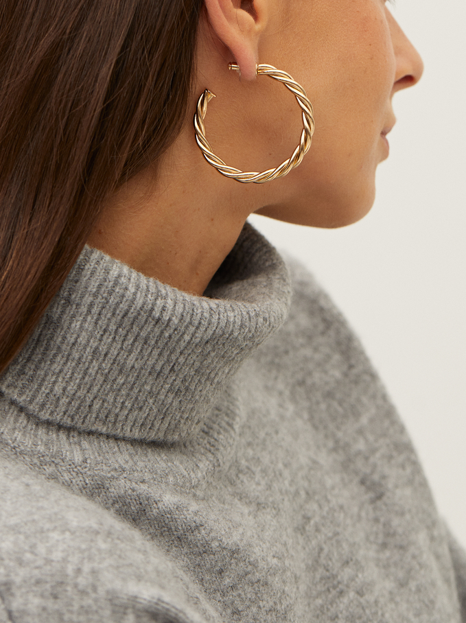 Large Woven Detail Hoop Earrings, Golden, hi-res