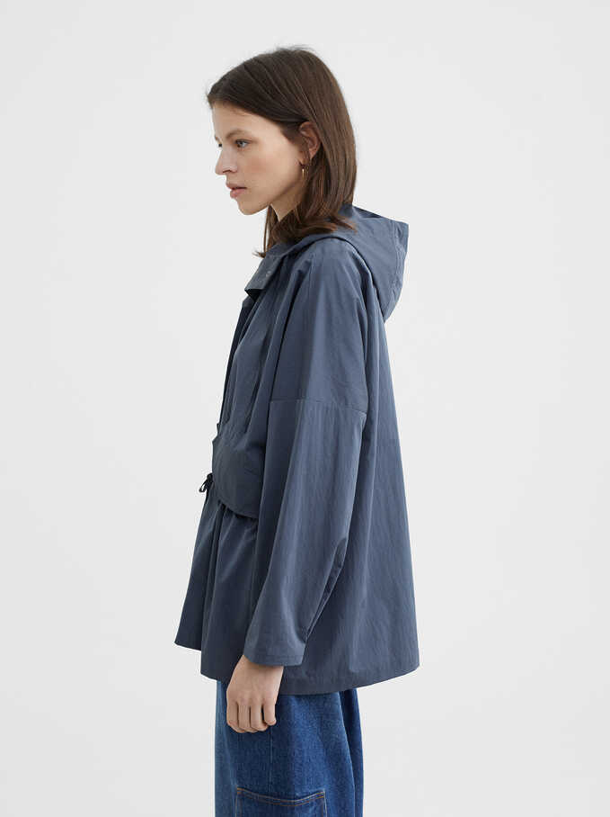 Hooded Jacket, Blue, hi-res