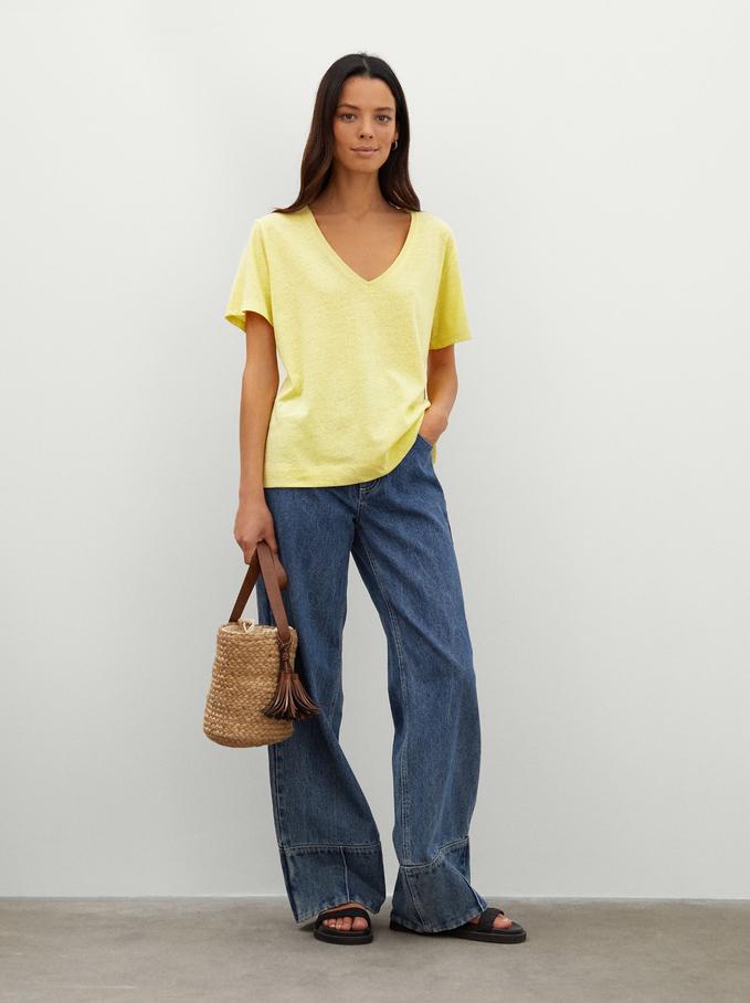 Linen V-Neck T-Shirt, Yellow, hi-res