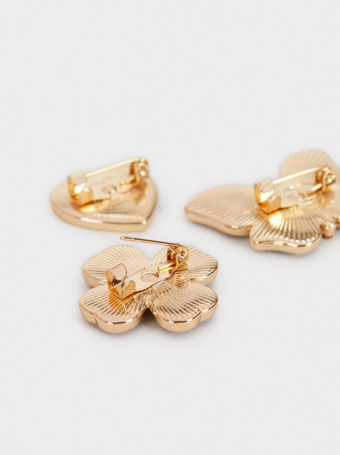 Set Of Brooches With Shell And Crystals, Golden, hi-res