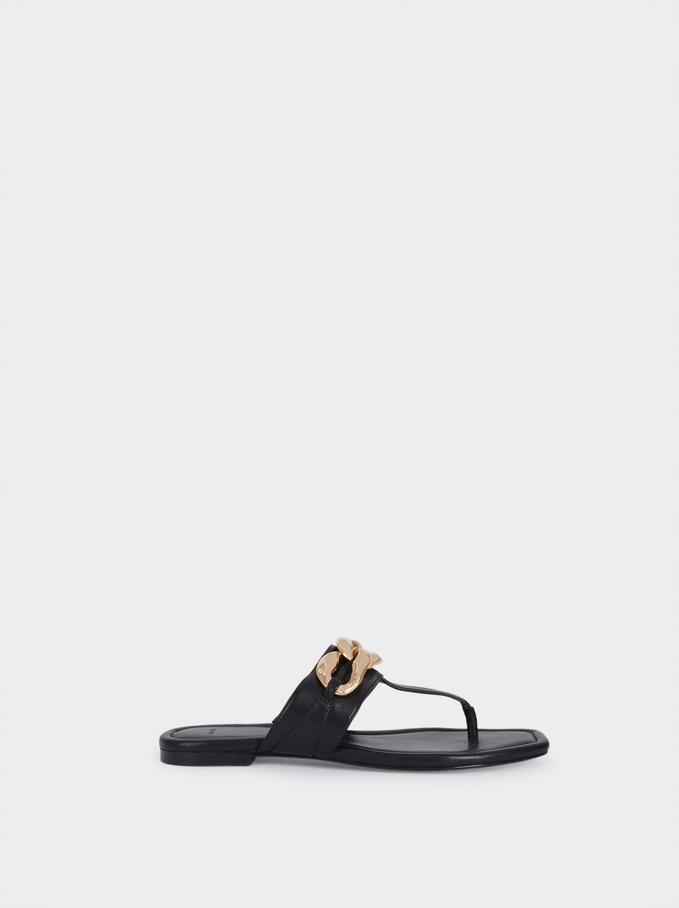Sandales Plates Avec Chaîne, Noir, hi-res