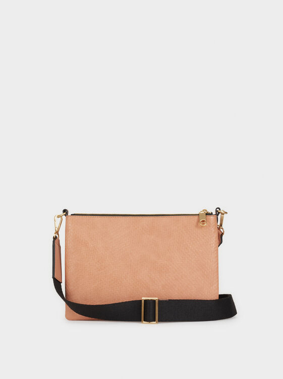 Embossed Faux Leather Crossbody Bag, Pink, hi-res