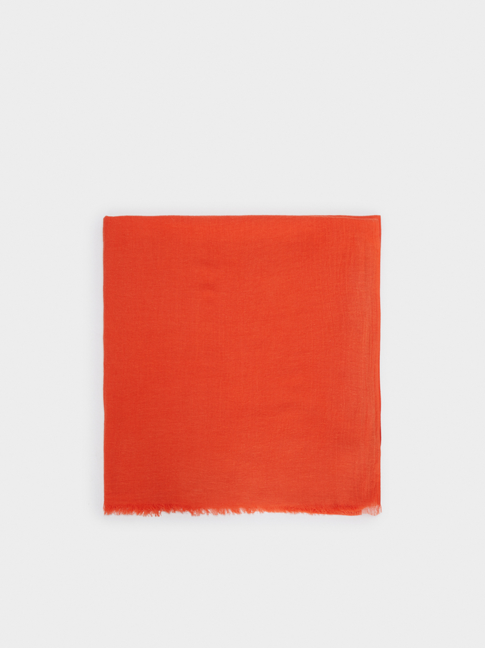 Plain Cotton Pashmina, Orange, hi-res