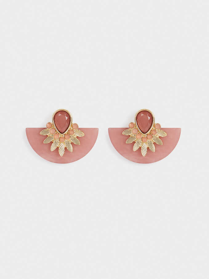 Earrings With Crystals, Red, hi-res
