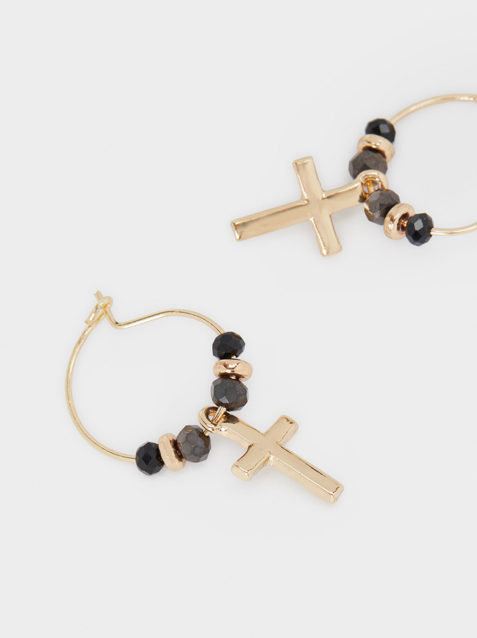 Small Hoop Earrings With Multicoloured Cross Detail, Multicolor, hi-res