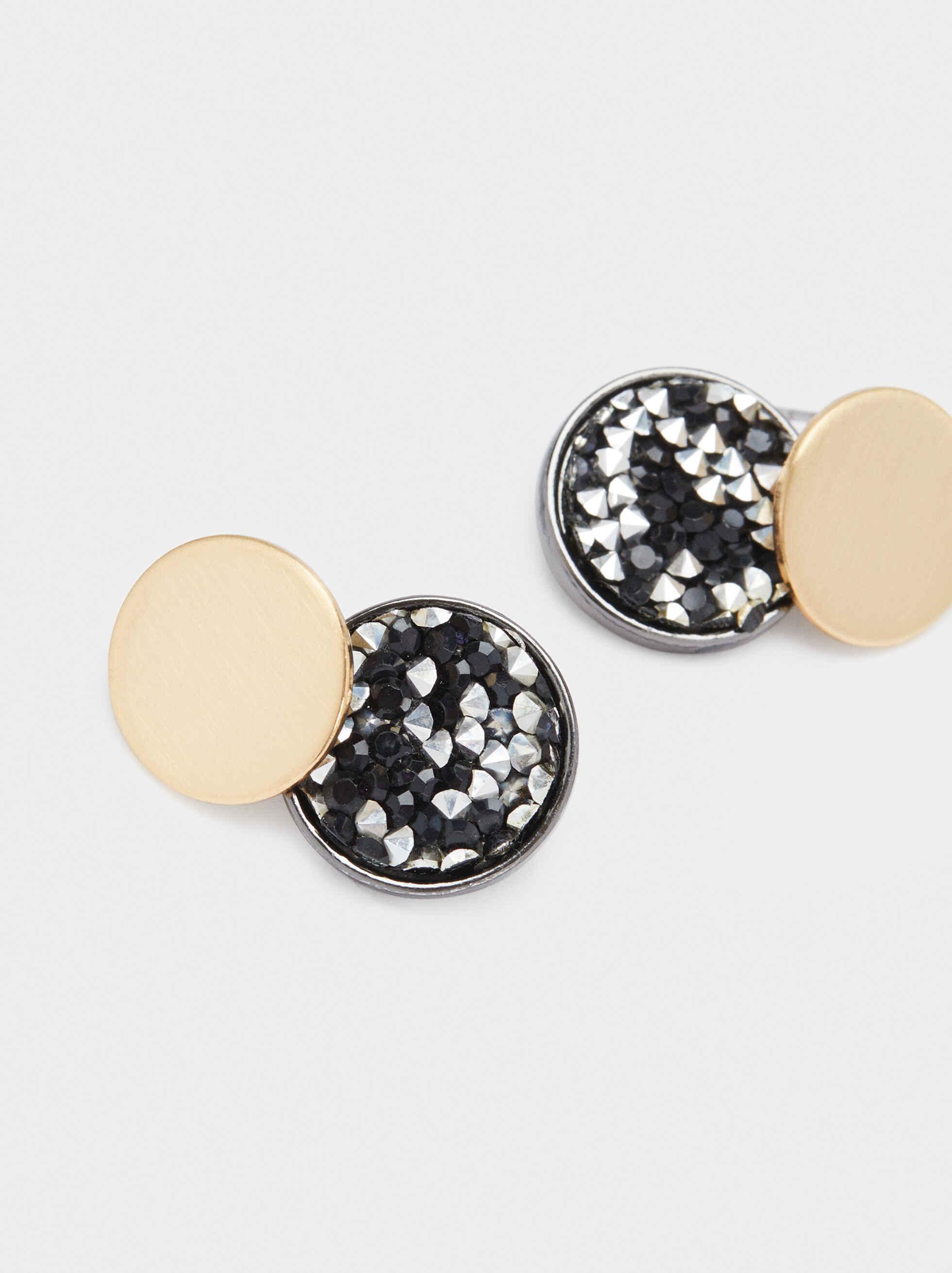 Gold Metal Short Earrings, Multicolor, hi-res