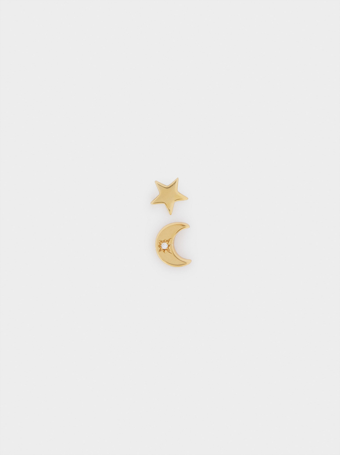 Short Silver 925 Star And Moon Earrings With Zirconia, Golden, hi-res