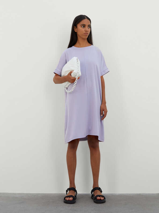 Plain Dress With Round Neck And Short Sleeve, Violet, hi-res