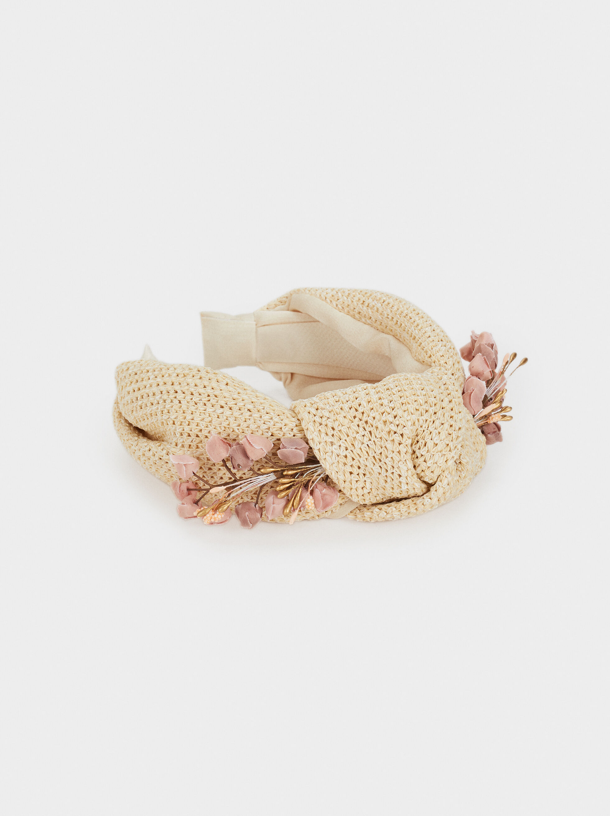 Straw Texture Headband With Floral Detail, Multicolor, hi-res