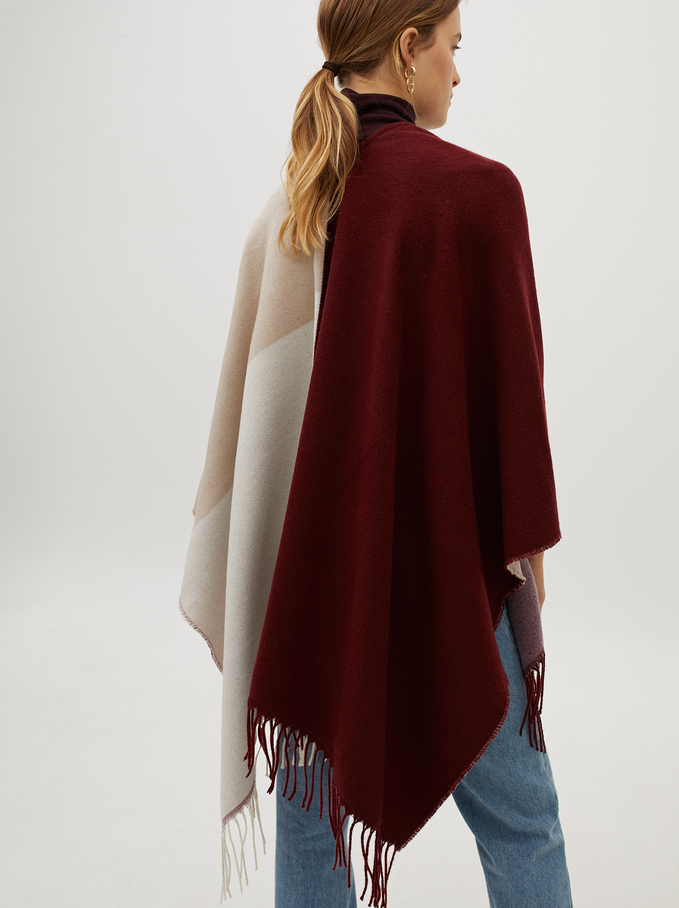 Printed Poncho, Bordeaux, hi-res
