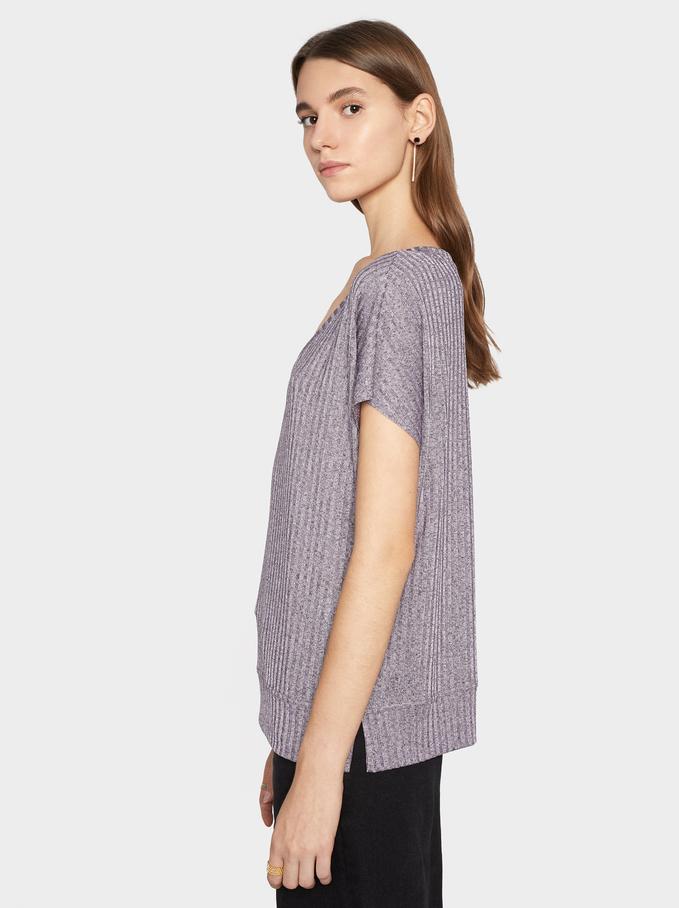 Ribbed V-Neck T-Shirt, Grey, hi-res
