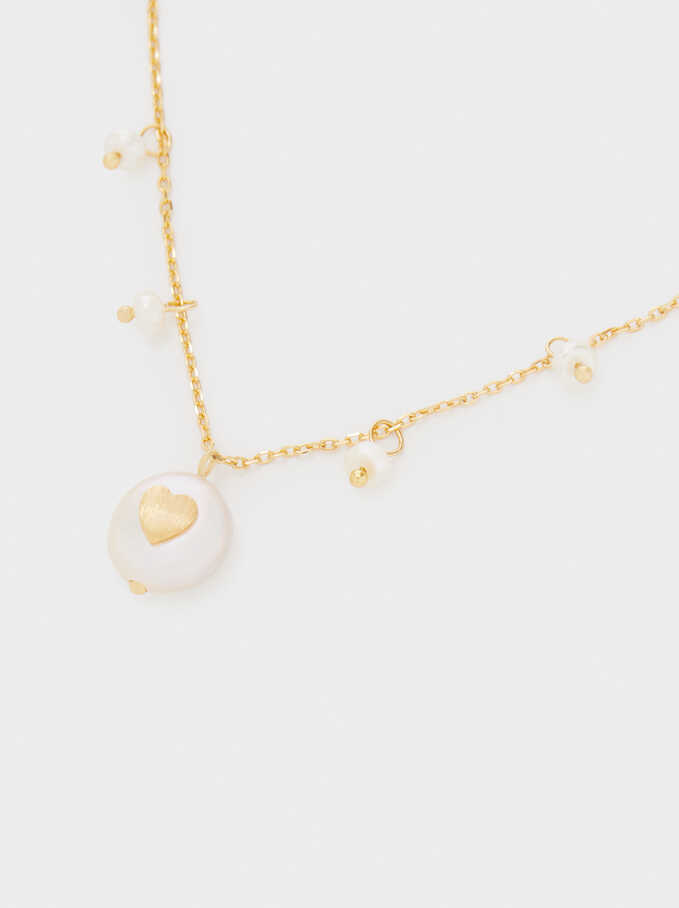 925 Silver Short Necklace With Pearl And Heart, Beige, hi-res