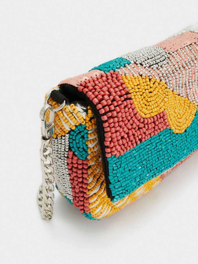 Party Handbag With Beads, Coral, hi-res