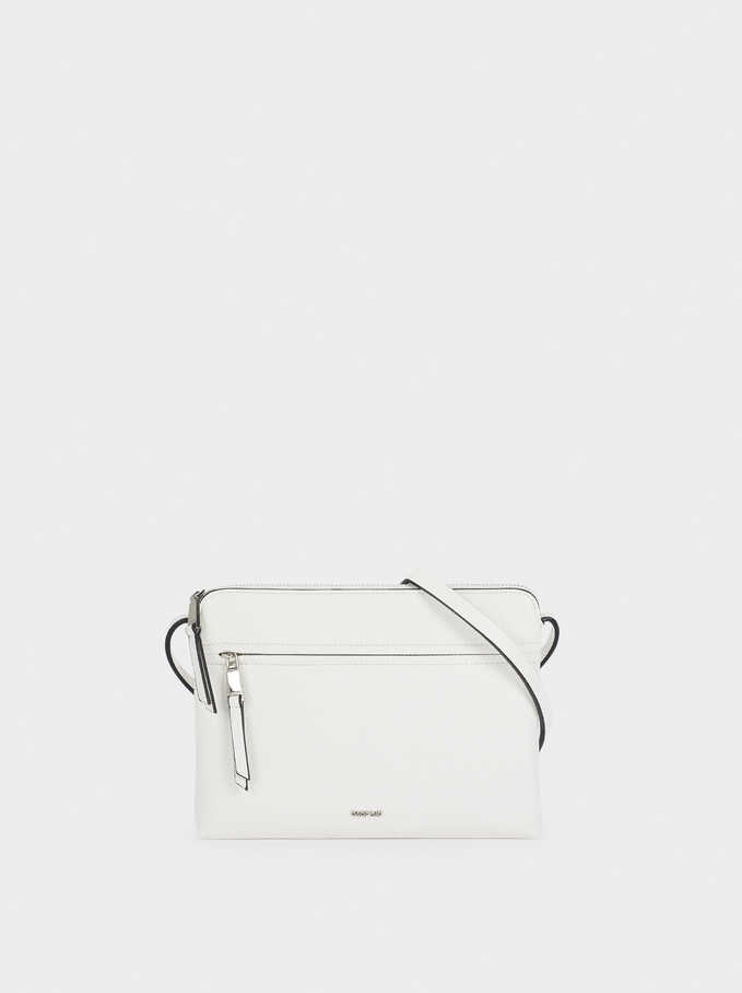 Crossbody Bag With Outer Pocket, White, hi-res