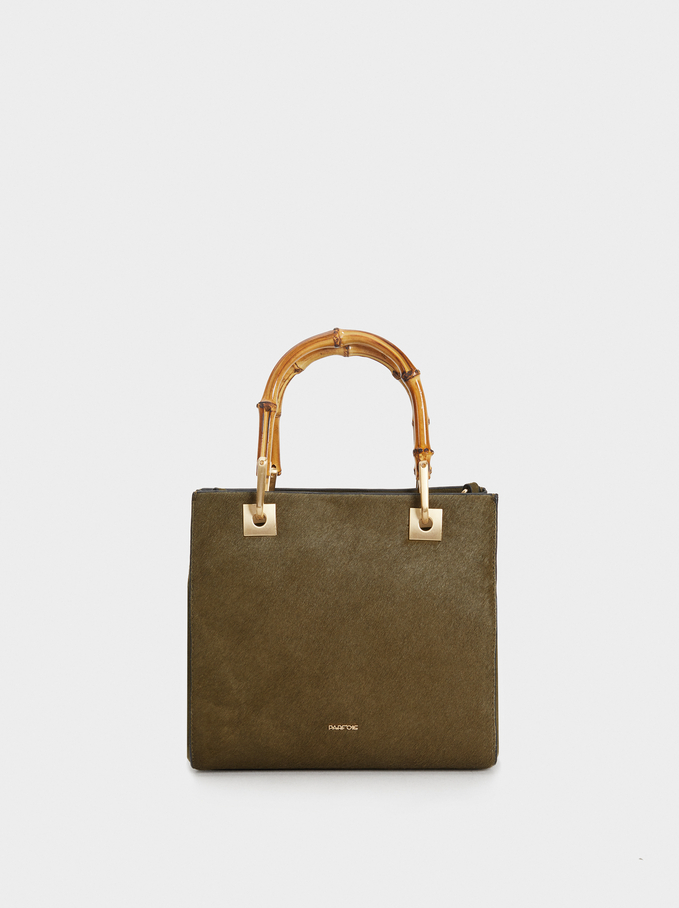 Faux Fur Tote Bag, Khaki, hi-res