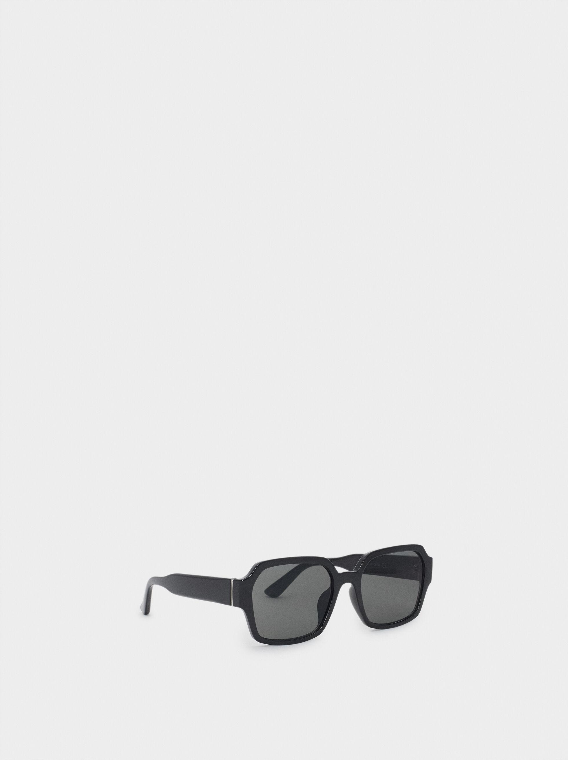 Square Plastic Sunglasses, Black, hi-res