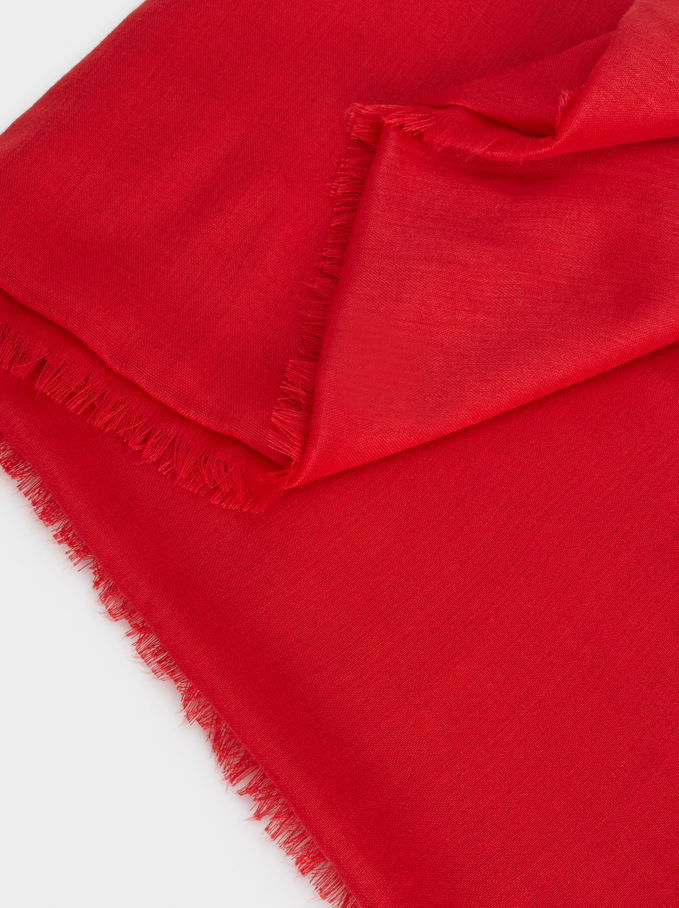 Plain Pashmina With Frayed Detailing, Red, hi-res