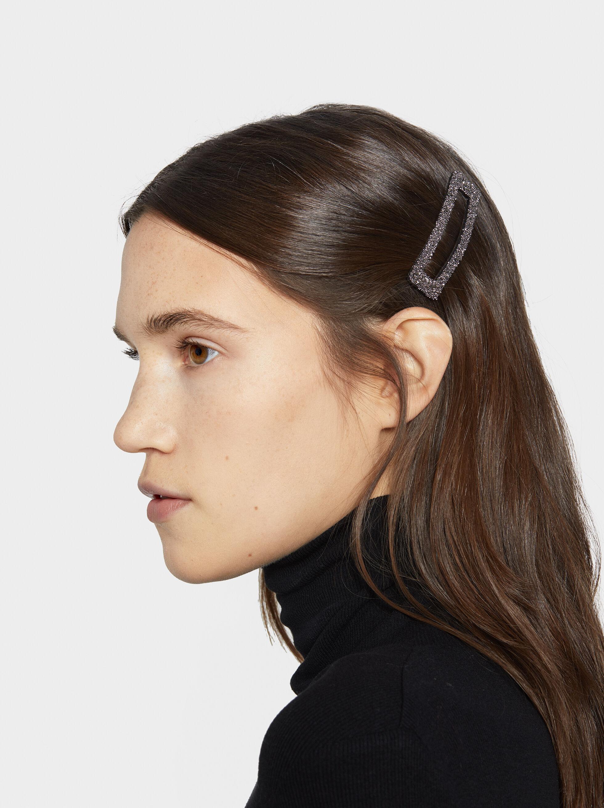 Bejewelled Hairclip, Black, hi-res