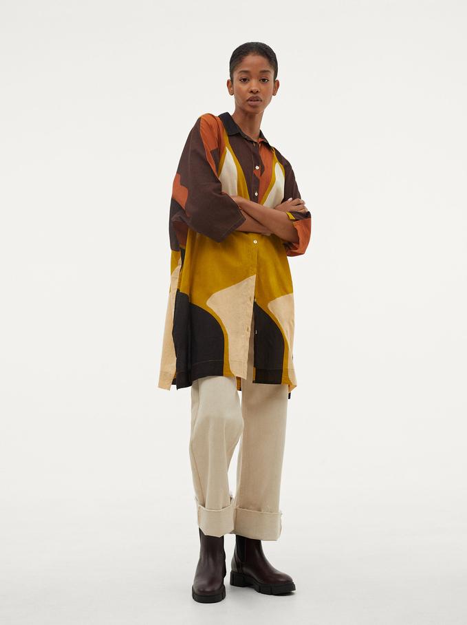Vestido Camisero Estampado 100% Algodón, Beige, hi-res