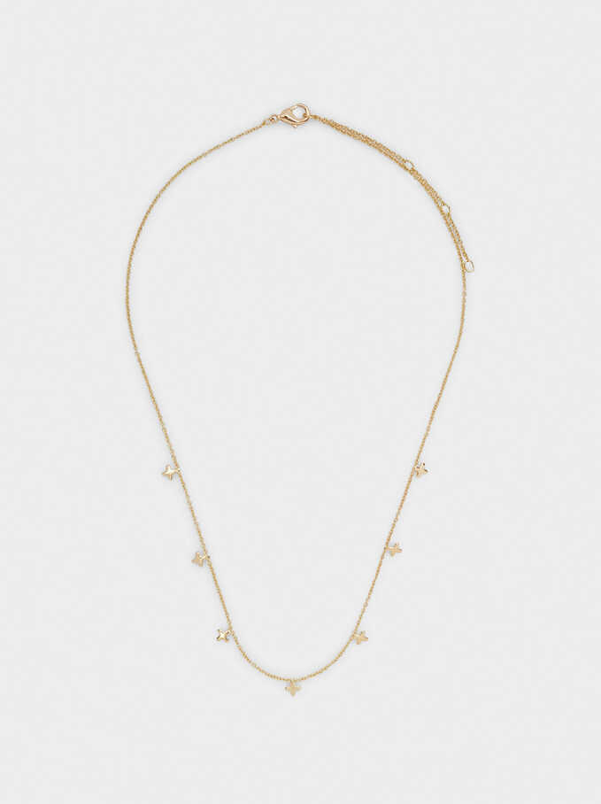 Short Necklace With Cross, Golden, hi-res