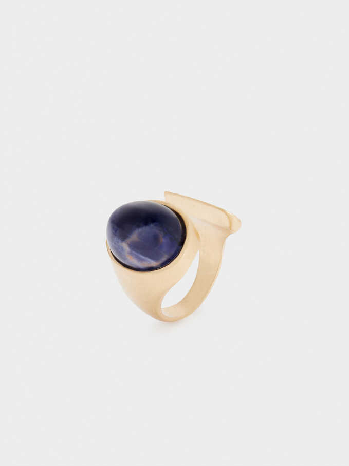 Gold Ring With Gems, Navy, hi-res