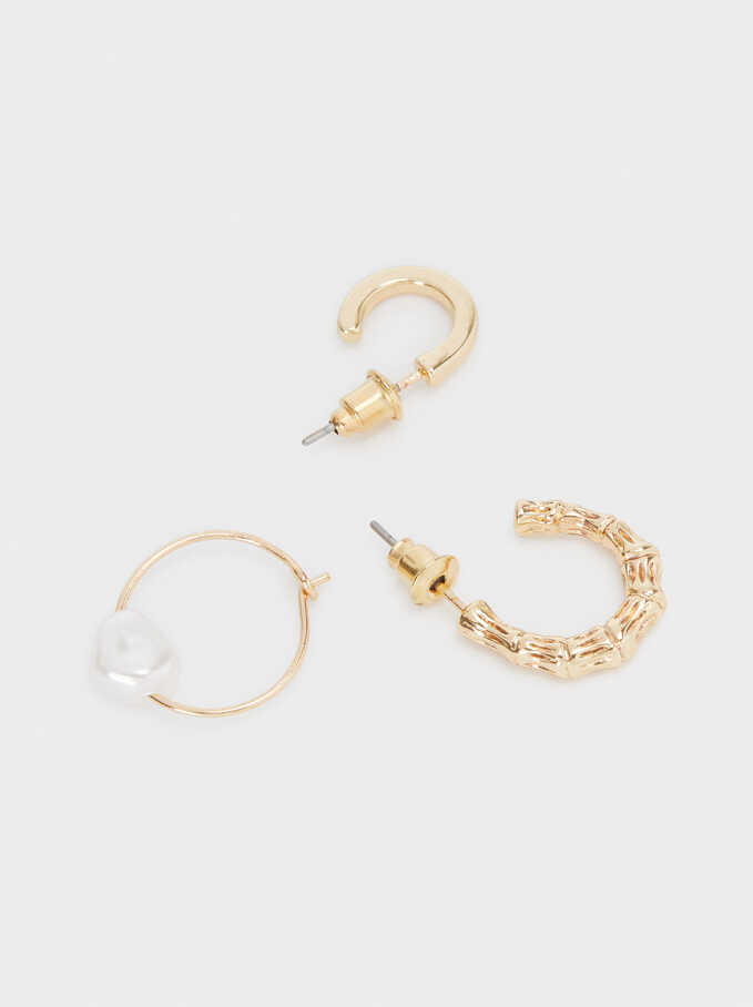 Set Of Gold Metal Hoop Earrings, Golden, hi-res
