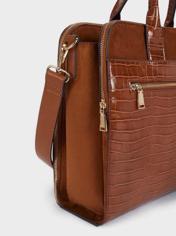 "Animal Embossed Briefcase For 13"" Laptop, Camel, hi-res"