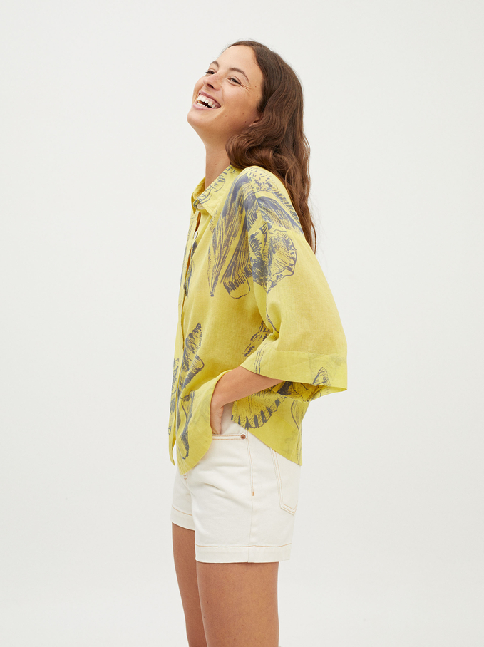 Shell Print Oversized Shirt, Yellow, hi-res