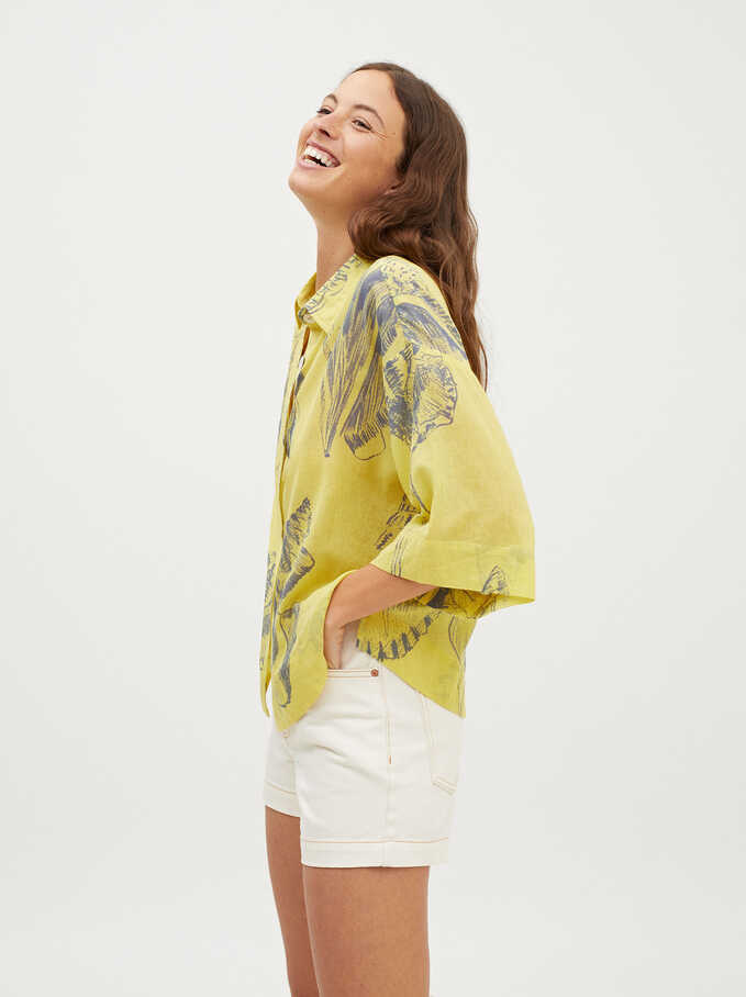 Shell Print Oversized Shirt, Yellow, hi-res