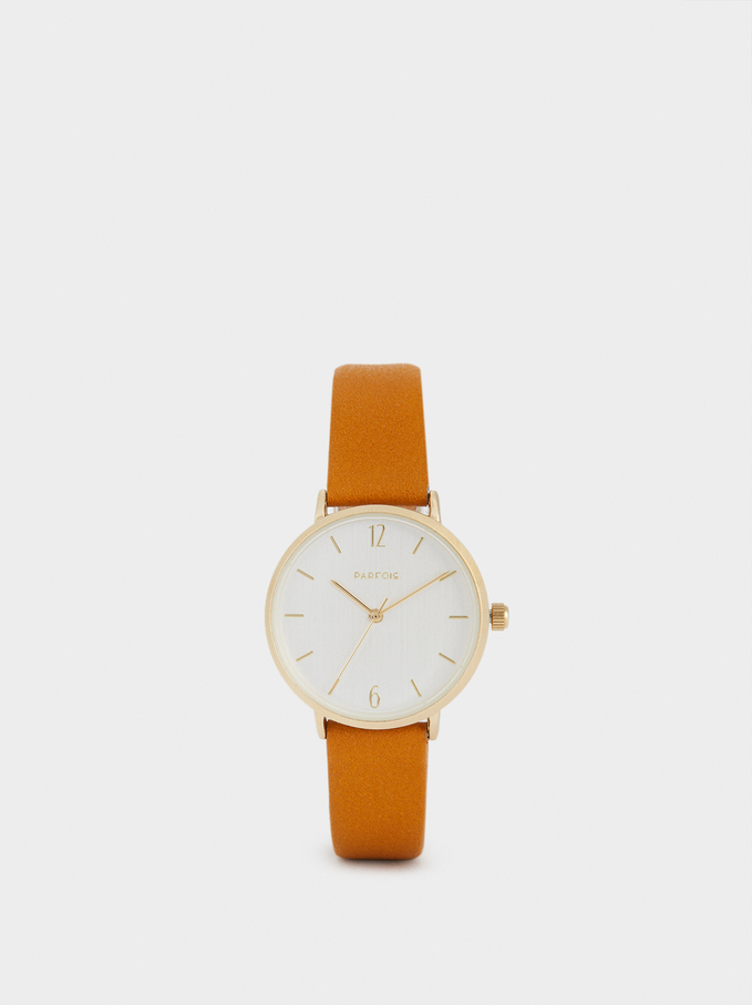 Watch With Metallic Gold Strap, Mustard, hi-res