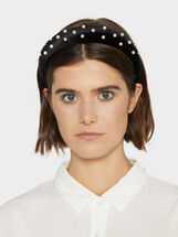 Wide Faux Pearl Headband, Black, hi-res