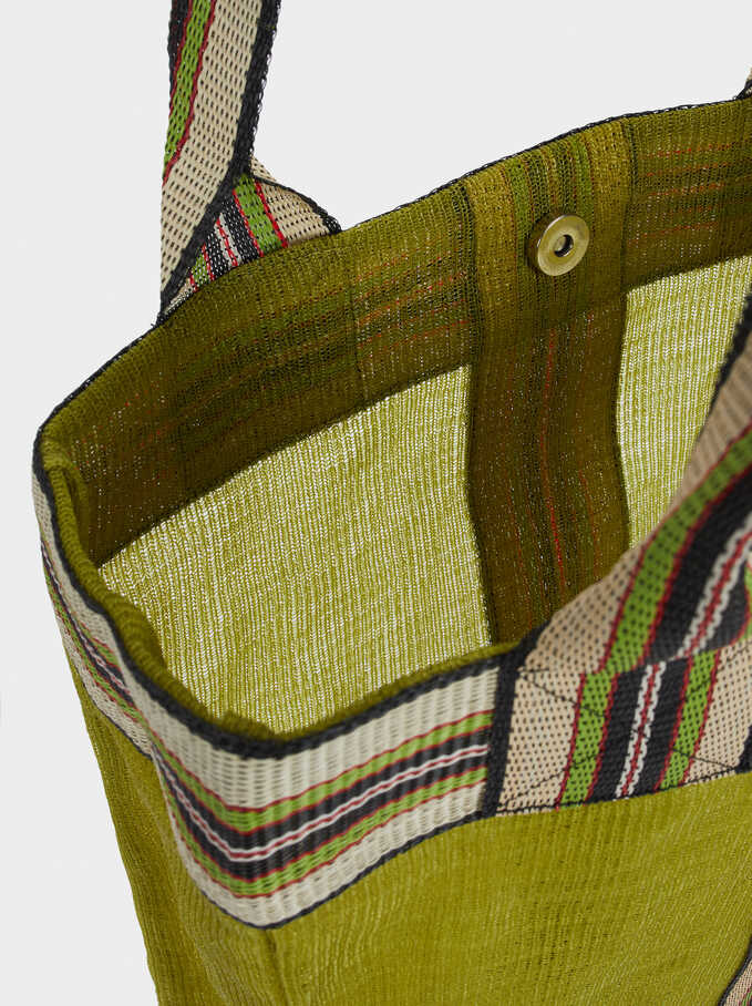 Tote Bag With Contrast Stripe, Green, hi-res