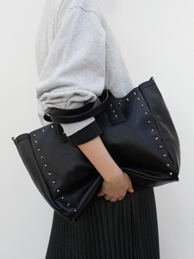 Studded Tote Bag With Detachable Handle, Black, hi-res