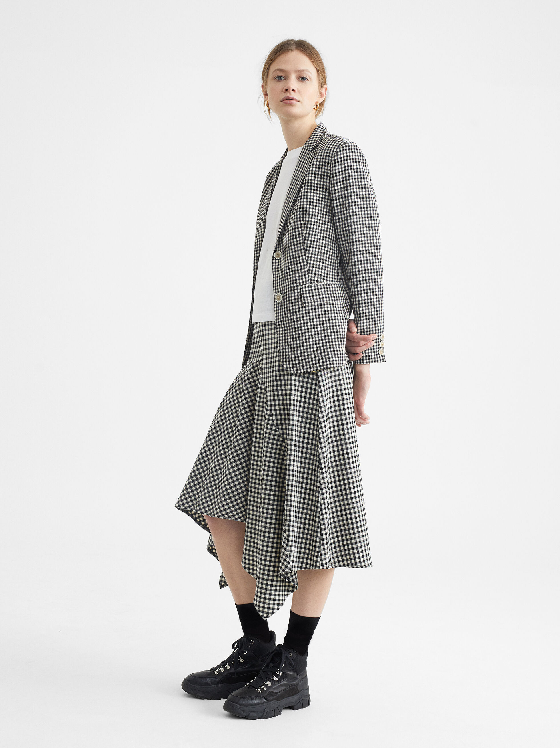 Gingham Check Skirt, , hi-res