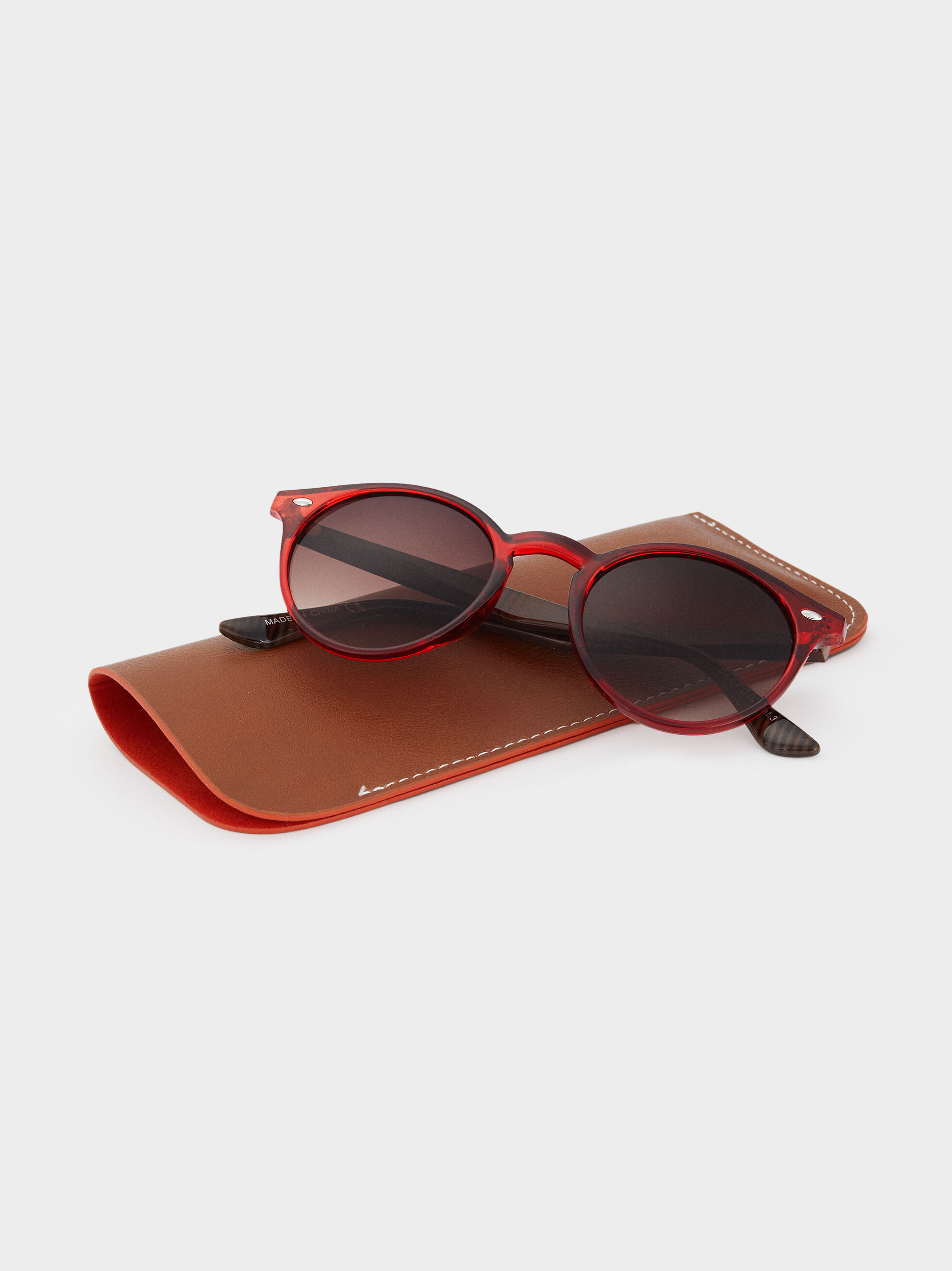 Round Resin Sunglasses, Red, hi-res