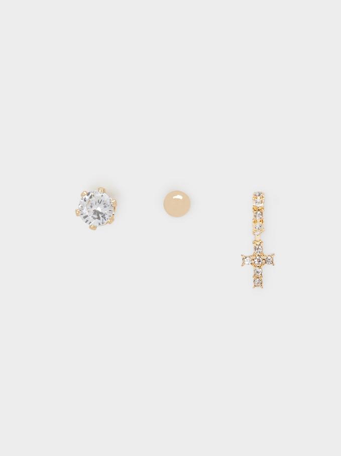 Lot De Boucles D'Oreilles Courtes Faux-Diamants, Doré, hi-res
