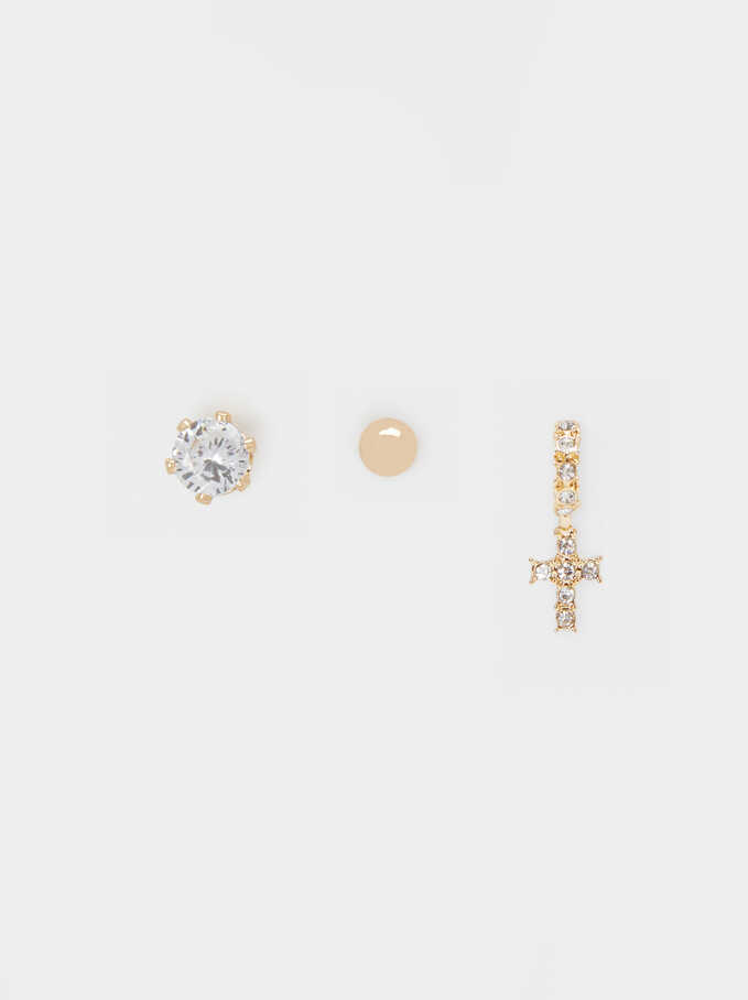 Set Of Rhinestone Studs, Golden, hi-res