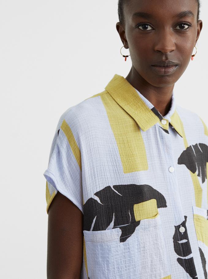 Printed Shirt Dress With Belt, Blue, hi-res