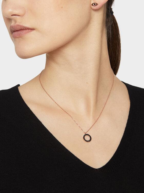 Short Steel Necklace With Rhinestones, , hi-res