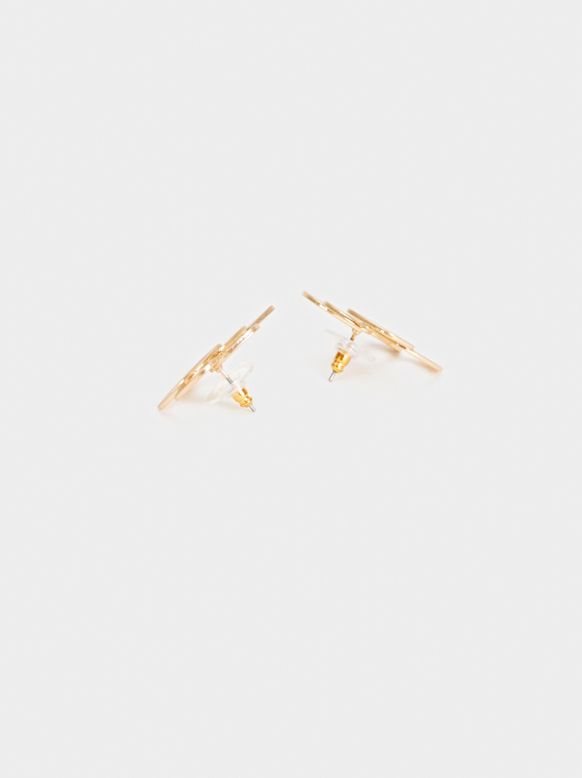 Exclusive Collection Flower Studs, Golden, hi-res