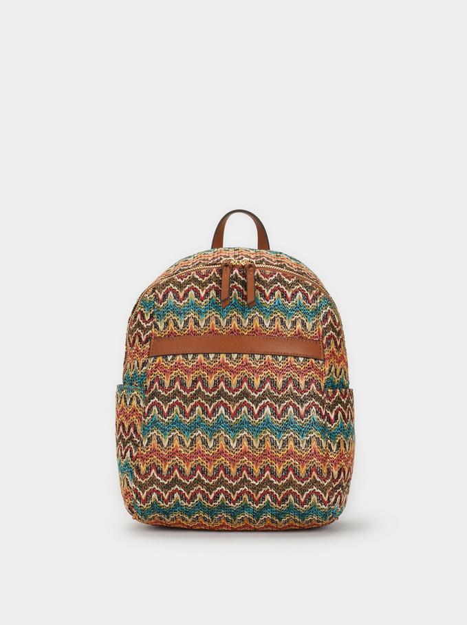 Raffia-Effect Backpack, Camel, hi-res