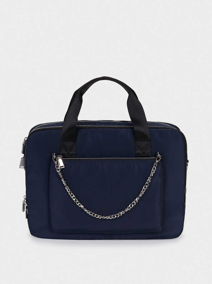 Nylon Briefcase With Chain Detail, Navy, hi-res
