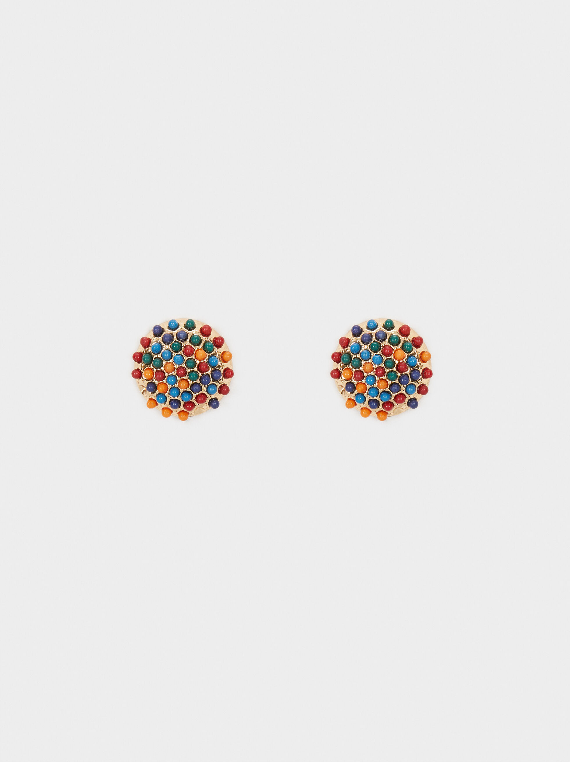 Short Earrings With Beads, , hi-res
