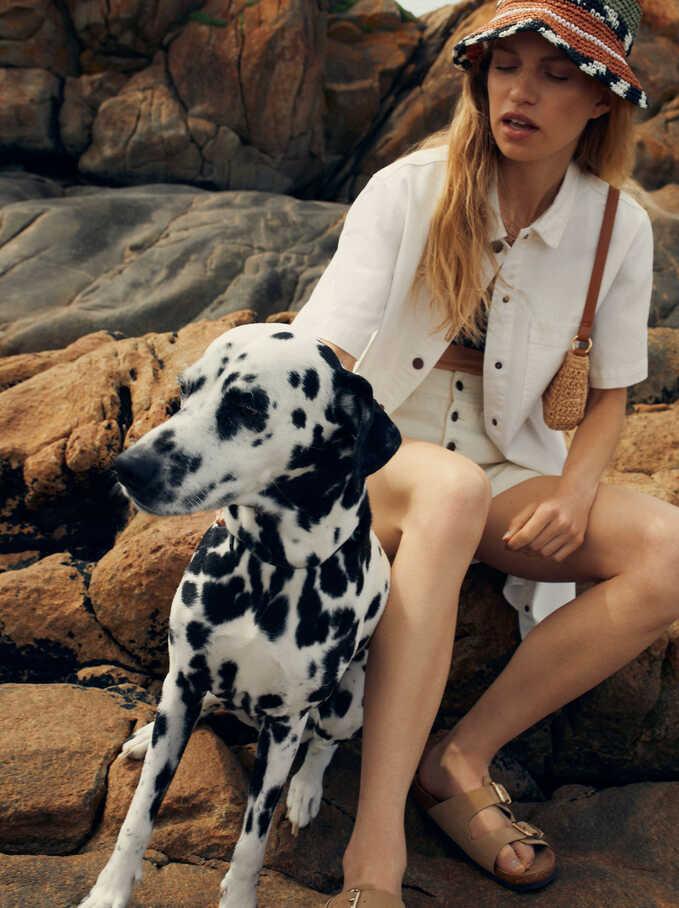 Cotton Shirt Dress, Ecru, hi-res