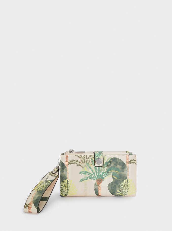 Palm Tree Print Long Purse, Beige, hi-res