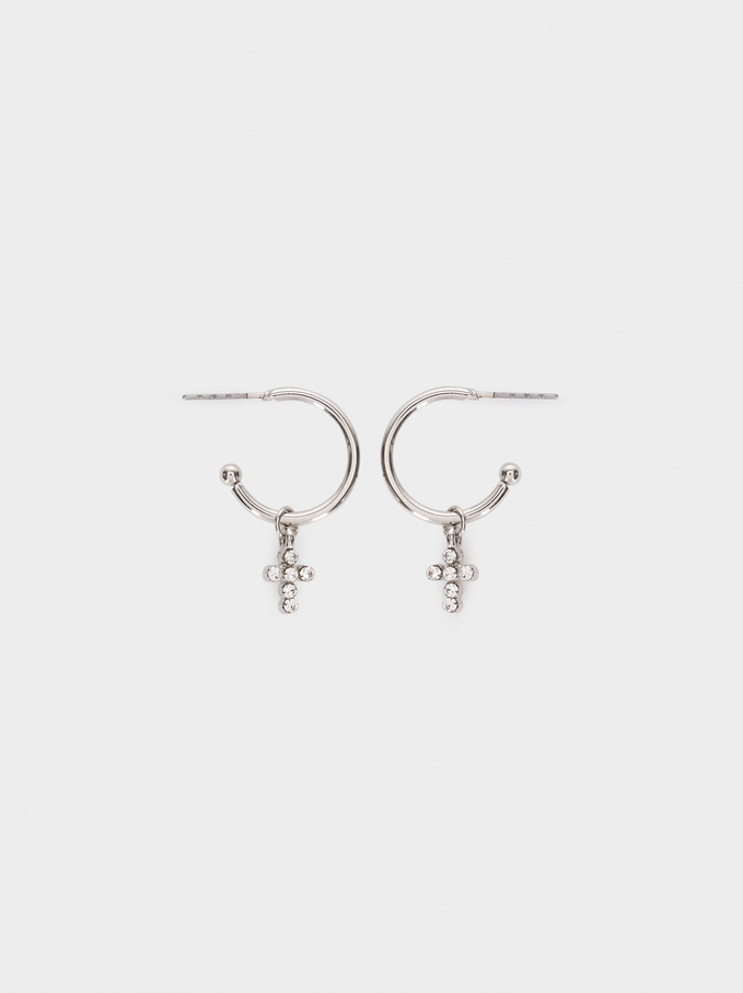 Short Cross Hoop Earrings, Silver, hi-res
