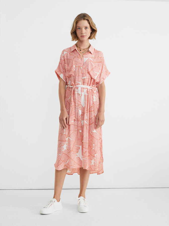 Leaf Print Shirt Dress, Pink, hi-res