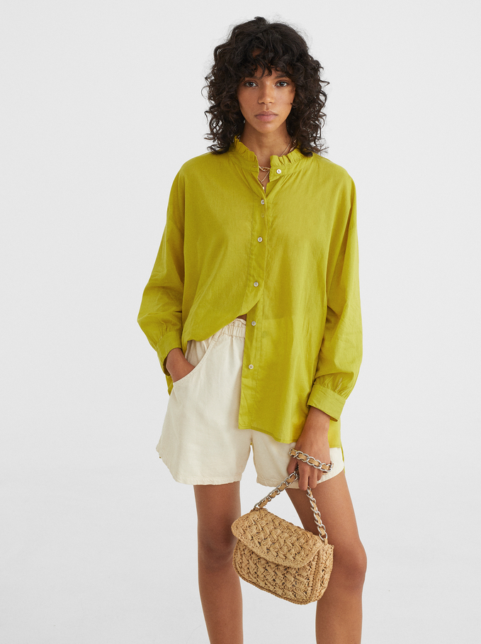 Frilled Stand-Up Collar Shirt, Green, hi-res