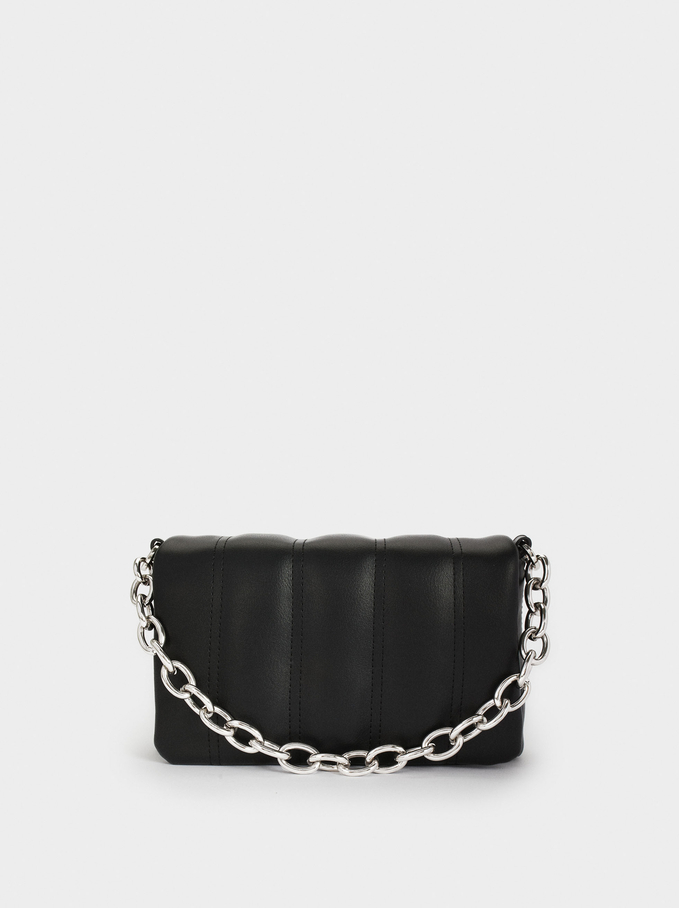 Quilted Handbag With Chain Handle, , hi-res