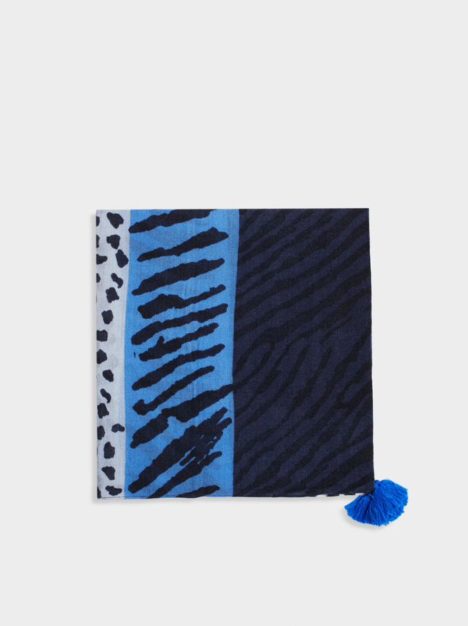 Animal Print Square Scarve, Blue, hi-res